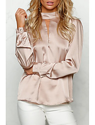 Femme Foulard/Dos Nu Tee-shirt,Couleur Pleine Sortie Décontracté/Quotidien simple Printemps Automne Manches Longues Col Arrondi Coton Moyen