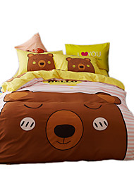 Mingjie Reactive Print Bear Bedding Sets 4 Pcs for Queen Size Contain 1 Duvet Cover 1 Bedsheet 2 Pillowcases from China