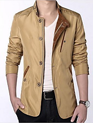 Men's Casual/Daily Simple Jacket,Solid Peter Pan Collar Long Sleeve Spring Wash inside out Cotton Regular