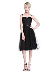 LAN TING BRIDE Knee-length Spaghetti Straps Bridesmaid Dress - Little Black Dress Sleeveless Tulle