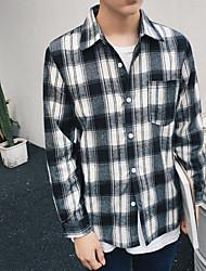 Men's Casual/Daily Simple Spring Fall Shirt,Check Shirt Collar Long Sleeve Cotton Opaque