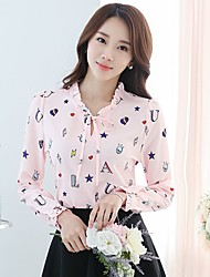 Casual/Daily Work Simple Cute Street chic Blouse,Print Stand Long Sleeve Pink White Polyester