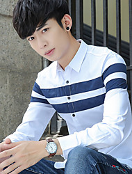2017 hombres de la primavera&# 39; s camisa de algodón de manga larga de color sólido costura adolescente ocasional ropas