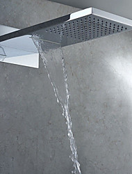 Square Modern Bathroom Chrome Polished Wall Mounted Waterfall Rain Shower Head Top Shower