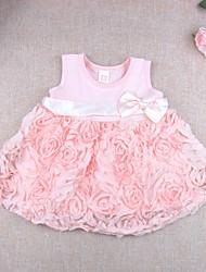 Baby Kleid-Lässig/Alltäglich einfarbig Blumen Baumwolle Modal Sommer Rosa