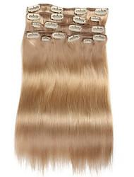 9pcs / set clipe de 120g de luxo em extensões do cabelo loiro bege cabelo humano de 16 polegadas 20 polegadas 100% em linha reta para mulheres