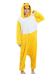 Kigurumi Pajamas Duck Festival/Holiday Animal Sleepwear Halloween Yellow Patchwork Velvet Mink Kigurumi For Male Female Unisex Halloween