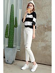 registe-2017 Primavera coreano solta joelho calça jeans reta buracos mendigo meia-calça grandes jardas estudantes