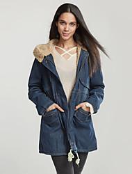 Långärmad Enfärgad Höst Vinter Ledigt/vardag Jeansjackor,Enkel Dam-Huva Övrigt Medium Blå