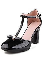 Heels Spring Summer Fall Club Shoes Leatherette Dress Casual Chunky Heel Bowknot Buckle Black Pink