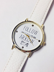 Unisex Women's Men's Watch Fashion Watch Quartz Genuine Leather Band Charm Casual Follow Your Arrow Word Watch Black White Blue Brown Grey Pink Yellow