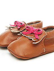 Girls' Baby Flats First Walkers Leatherette Summer Casual Outdoor Walking First Walkers Magic Tape Low Heel Light Brown Flat