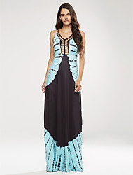 Women's Going out / Party / Club Sexy / Simple Swing DressPrint Strap Maxi Sleeveless Blue Polyester Summer