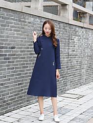 Feminino Reto Bainha Rendas Vestido, Para Noite Casual Simples Moda de Rua Bordado Colarinho Chinês Acima do Joelho Manga LongaAzul