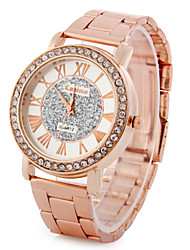 Montre Tendance Montre Diamant Simulation Quartz Strass Imitation de diamant Plaqué Or Rose Alliage Bande rétro Or Rose Rouge Rose