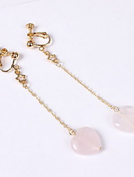 Drop Earrings Clip Earrings Resin Alloy Heart Pink+White Jewelry Daily Casual 1 pair