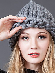 Women Winter Casual Solid Color Flanging Hand knitted Wool Gray knitted Protect Ears Cap