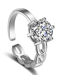 Ring Wedding Party Special Occasion Jewelry Platinum Plated Zircon Ring 1pcAdjustable Silver