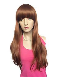 Capless Medium Auburn Synthetic Fiber Women Wig Cosplay Costum Hairstyle With Wig Cap