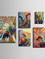 E-HOME Stretched Canvas Art Abstract Colored Horses Decoration Painting One Pcs