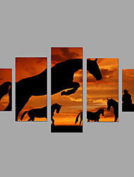 Print African Sunset Scenery Post Painting Wall Art 5pcs/set Home Office Decor (No Frame)