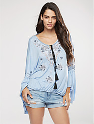 Women's Casual/Daily Sexy Summer Blouse,Embroidered V Neck Long Sleeve Blue Cotton / Linen Thin