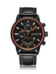Men's Fashion Watch Quartz Leather Band Casual Black Orange Grey