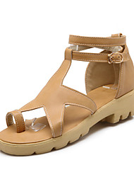 Women's Sandals Summer Club Shoes Gladiator Comfort Leatherette Dress Casual Low Heel Buckle Black Yellow White