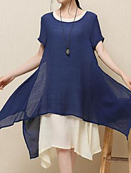 Casual/Daily Simple Loose Dress,Solid Round Neck Midi Short Sleeve Cotton Blue Red Gray Green Summer Mid Rise Inelastic
