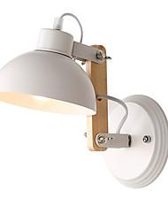 Vintage Wood Art Deco Metal Metal Rustic Wall Sconce Living Room Dining Room Hallway Wall Lamp Black White Optional