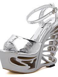 Damen-Sandalen-Kleid-Lackleder-Keilabsatz-Club-Schuhe-Weiß Silber