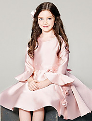 Ball Gown Short / Mini Flower Girl Dress - Satin Long Sleeve Scoop with Flower(s)