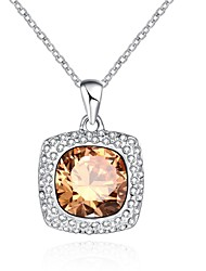 Women's Pendant Necklaces Chain Necklaces Crystal AAA Cubic Zirconia Crystal Alloy Zircon Silver Plated Rose Gold Plated Simulated Diamond