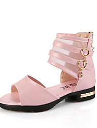 Sandals Spring Summer Gladiator Comfort Nappa Leather Tulle Wedding Outdoor Casual Low Heel Pink White