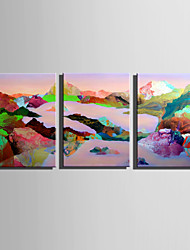 E-HOME Stretched Canvas Art Abstract Colored Mountains Decoration Painting Set Of 3