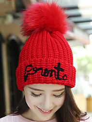 lã de impressão Inglês cabelo bola de cor sólida das mulheres aquecer chapéu de malha