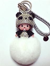Dolls Key Chain Toys Leisure Hobby White Black Crystal