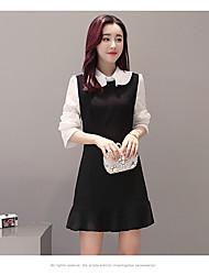 modelo sinal 2017 Primavera nova moda coreano fishtail vestido mulheres falso de duas costura vestido # 1613