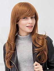 мода долго естественная волна каштановый монолитным парик человеческих волос для девочек и женщин 2017 года