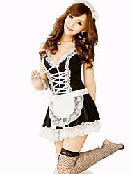 Cosplay Costumes Maid Costumes Festival/Holiday Halloween Costumes Black Solid Carnival Female Nylon
