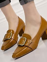 Saltos-Sapatos clube-Salto Grosso-Preto Amarelo-Couro Envernizado-Social