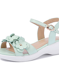 Sandals Spring Summer Fall Club Shoes Cowhide Office & Career Party & Evening Dress Wedge Heel Flower Green Pink
