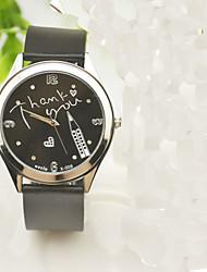 Жен. Муж. Модные часы Кварцевый Стразы Имитация Алмазный силиконовый Группа С подвесками Часы с текстом Повседневная Черный
