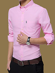 Men's Casual/Daily Work Simple Spring Fall Shirt,Solid Button Down Collar Long Sleeves Cotton Medium