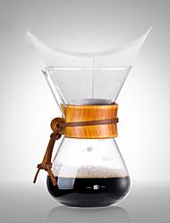madeira de café de vidro chaleira, 3 xícaras de gotejamento cafeteira reutilizável