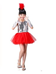 Jazz Dresses Children's Performance Chinlon Organza Sequins Tiers 3 Pieces Short Sleeve Natural Leotard Bracelets