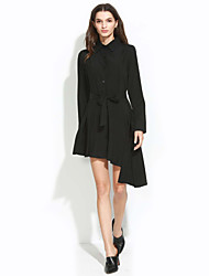 Women's Casual/Daily Vintage Loose DressSolid Shirt Collar Asymmetrical Long Sleeve Black Polyester All Seasons Mid Rise