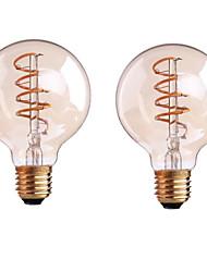 2PCS 4W B22/E27  LED Soft Filament Bulbs G80 COB 300-400 lm Warm White Dimmable AC 220-240 AC 110-130 V