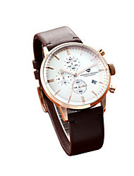 Sport Watch Quartz Leather Band Vintage Brown