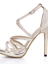 Women's Sandals Summer Comfort Light Up Shoes Synthetic Wedding Dress Party & Evening Stiletto Heel Silver Gold